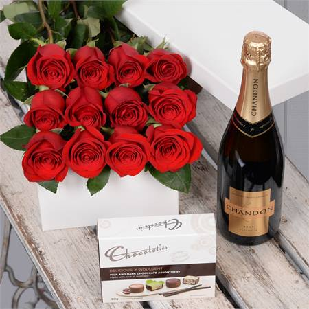 Valentine's Day 12 Red Roses with Chocs & Chandon