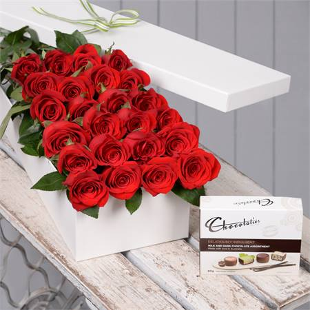 Valentine's Day 24 Red Roses with Chocs