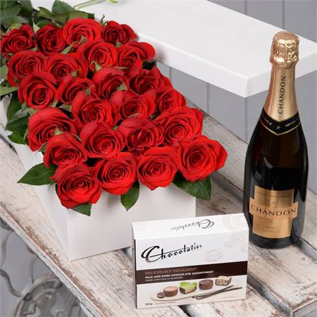 Valentine's Day 24 Red Roses with Chocs & Chandon