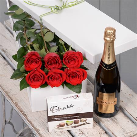 Valentine's Day 6 Red Roses with Chocs & Chandon