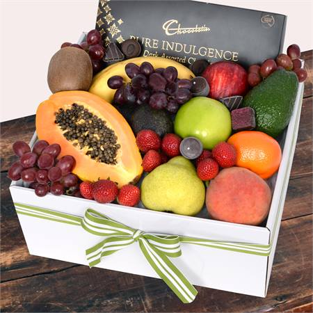 Deluxe Fruit Box with Dark Chocs