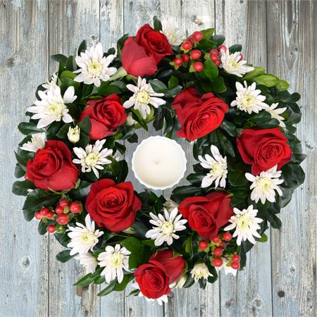 Rudolph Wreath with Candle