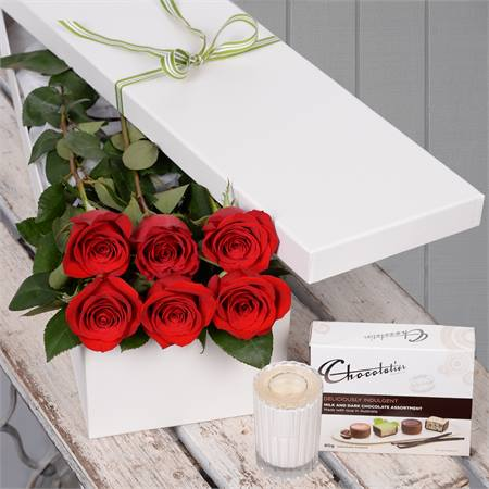 Valentine's Day 6 Red Roses with Chocs & Candle