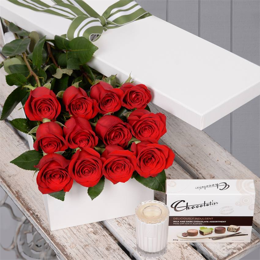 Valentine's Day 12 Red Roses with Chocs & Candle
