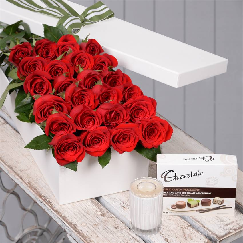 Valentine's Day 24 Red Roses with Chocs & Candle