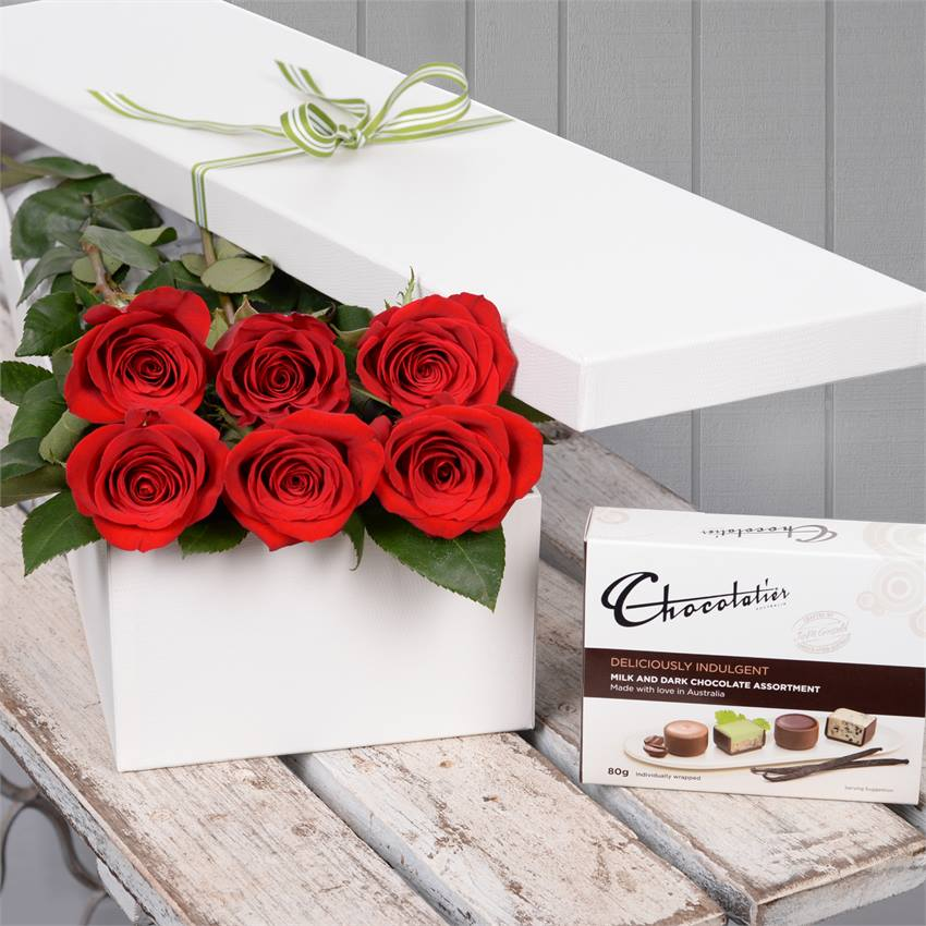 Valentine's Day 6 Red Roses with Chocs