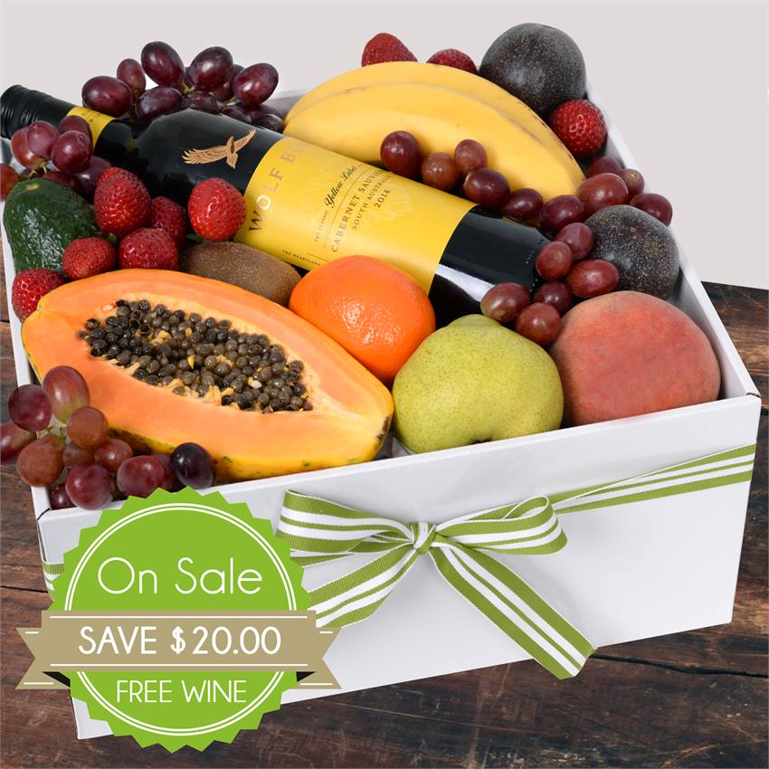 Deluxe Fruit Box with Red Wine Special