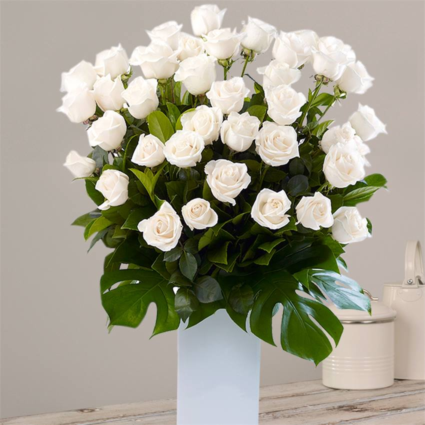 Tall White Roses Arrangement